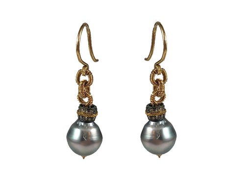 14K Yellow Gold, Oxidized Sterling Silver, Diamond and Tahitian Pearl Earrings