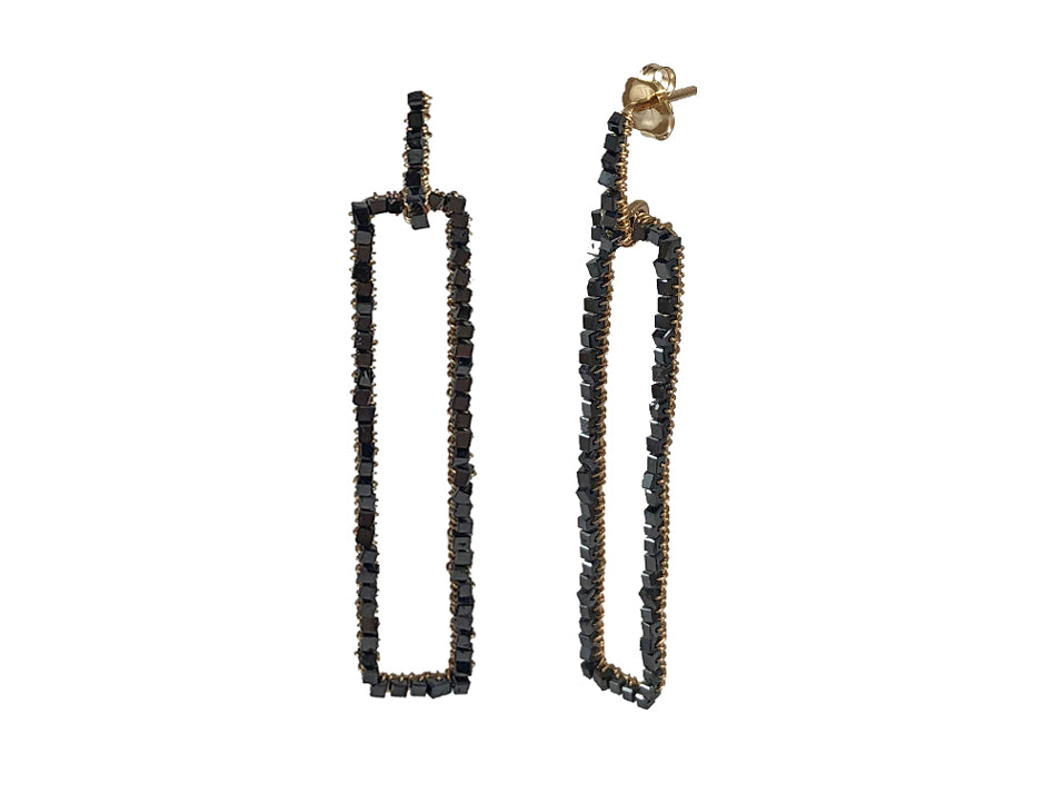 Dana Kellin 14K Yellow Gold and Black Diamond Earrings
