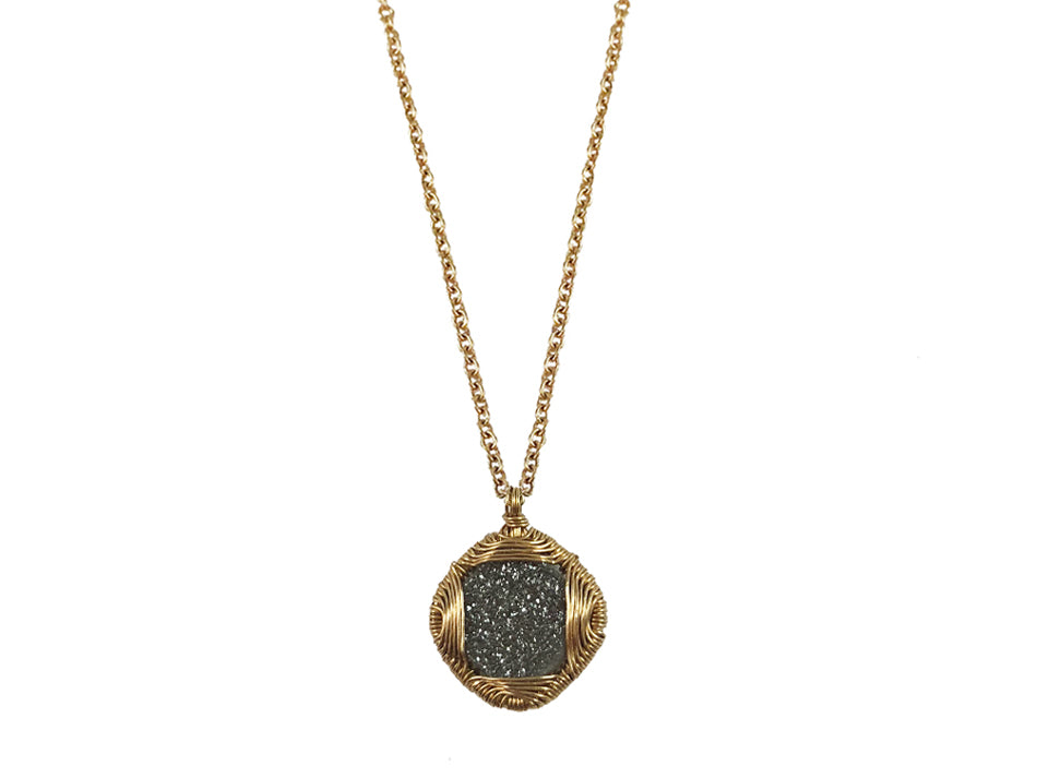 Dana Kellin Druzy Quartz Pendant Necklace