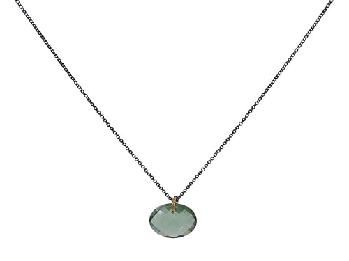 Oxidized Sterling Silver, 14K Yellow Gold and Teal Quartz Necklace