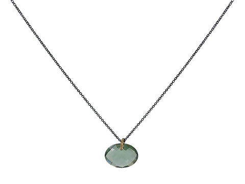 Stainless Steel Necklace with Black and Silver-Colored Pendants
