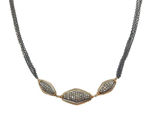 Oxidized Sterling Silver, 14K Yellow Gold and Diamond Choker Necklace