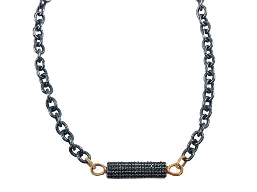 14K Yellow Gold, Oxidized Sterling Silver and Spinel Necklace