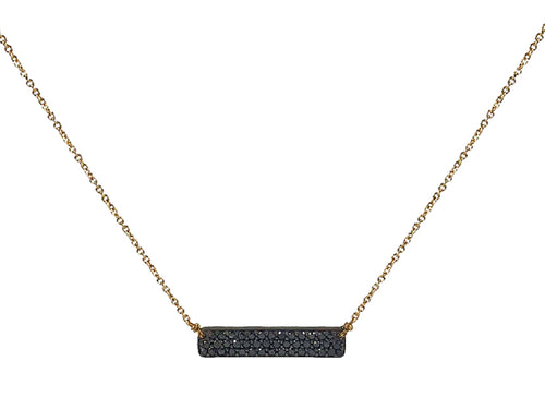 14K Yellow Gold, Oxidized Sterling Silver and Black Diamond Necklace
