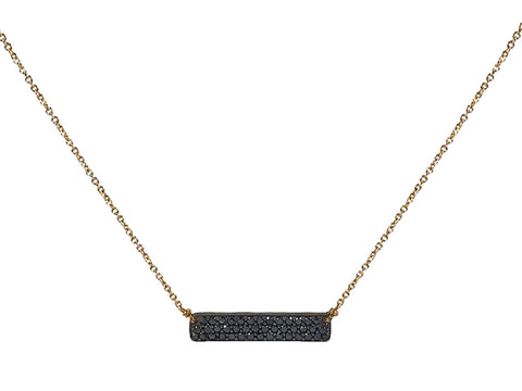 14K Yellow Gold and Black Spinel Necklace
