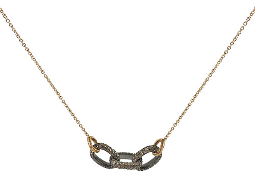 14K Yellow Gold, Oxidized Sterling Silver and Diamond Necklace