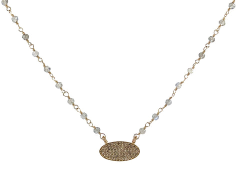 24K Yellow Gold, Oxidized Sterling Silver and Diamond Necklace