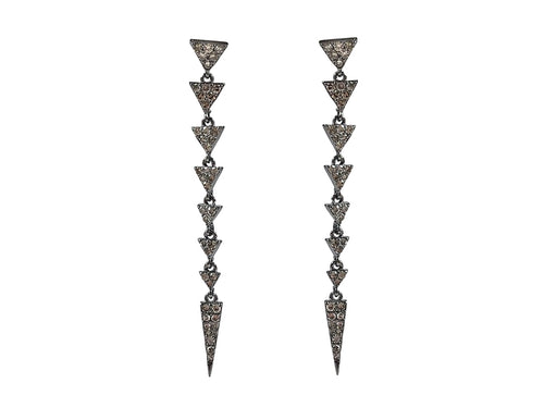 Oxidized Sterling Silver and Diamond Earrings