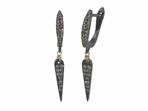"Sterling Silver and Oxidized Sterling Silver ""Leaf"" Earrings"