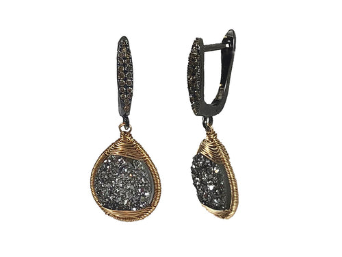 Oxidized Sterling Silver, 14K Yellow Gold, Druzy and Diamond Earrings