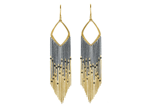 Black Diamond Fringe Earrings