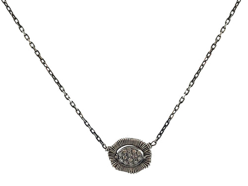 Oxidized Silver and Diamond Necklace