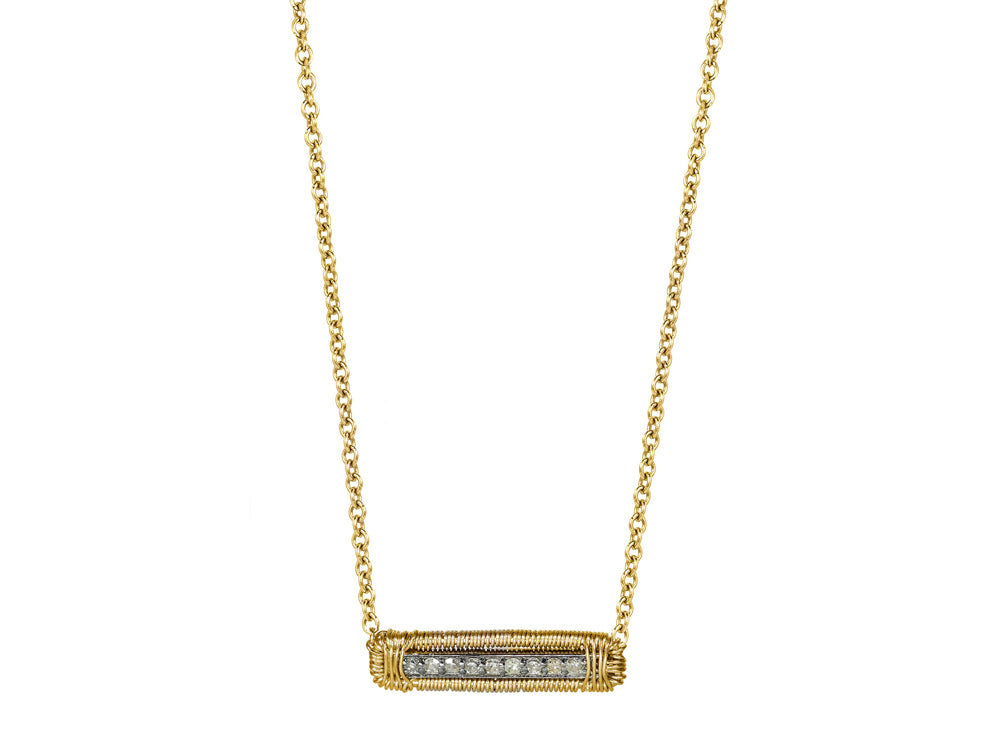 Delicate Diamond Bar Necklace