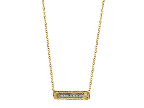 Delicate Diamond Bar Necklace in Yellow Gold