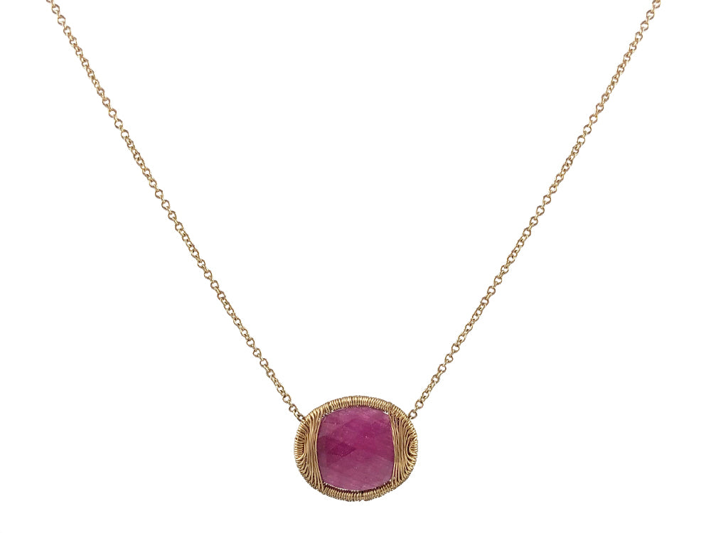 Gold Wire-Wrapped Ruby Necklace