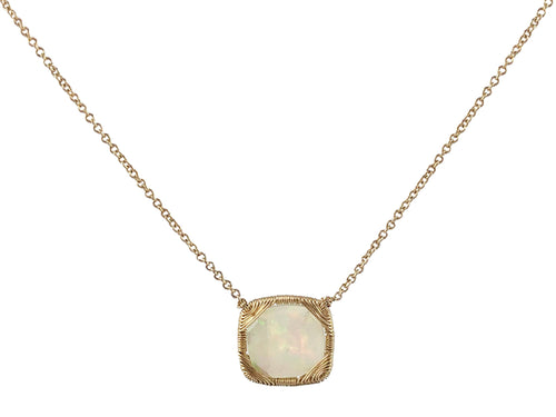 Gold Wire-Wrapped Opal Necklace