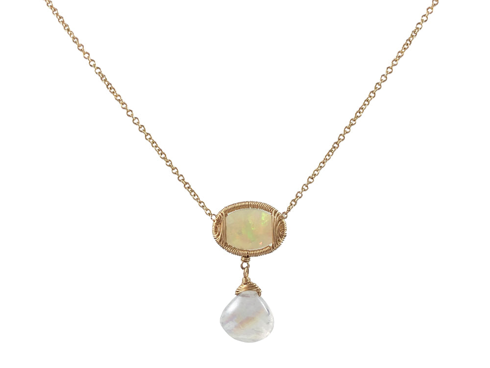 Opal and Rainbow Moonstone Necklace