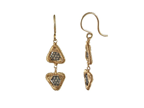 "Gold ""Asian Ivy Leaf"" Earrings"