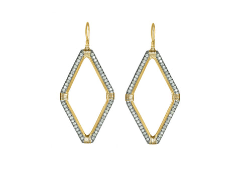 Inverted Diamond Hoop Earrings