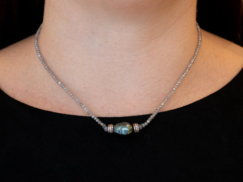 14K Yellow Gold, Oxidized Sterling Silver, Diamond, Coated Sapphire Briolette and Tahitian Pearl Necklace
