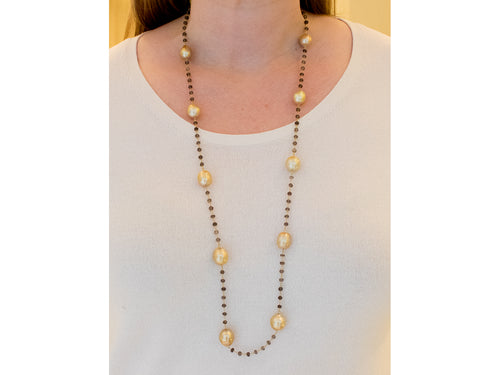 18K Yellow Gold, Golden South Sea Pearls and Smokey Quartz Necklace