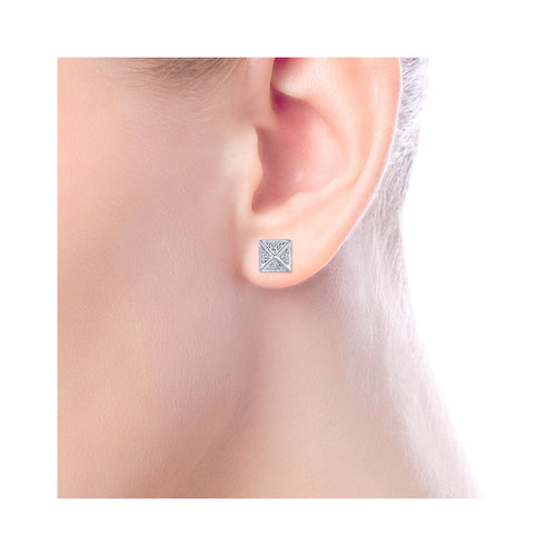 White Gold and Diamond Pyramid Stud Earrings