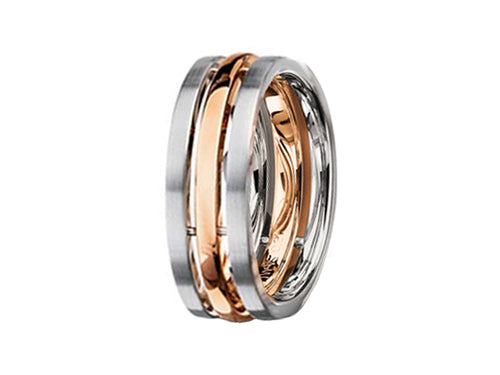 Palladium and 18K Red Gold Men's Wedding Band