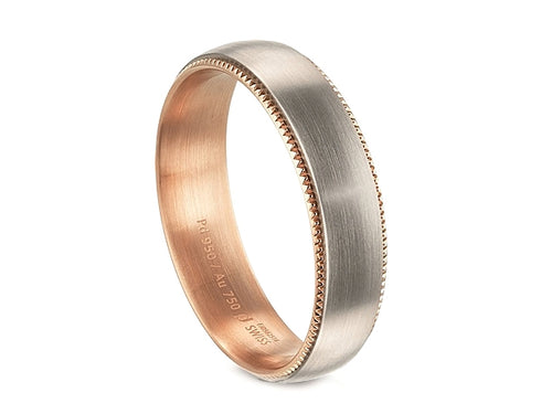 18K White and Red Gold Men's Wedding Band