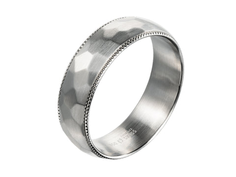 Platinum and Oxidized Sterling Silver Channel Men's Wedding Band