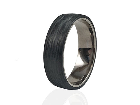 Platinum and Wood Inlay Wedding Band