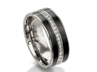 18K White Gold, Carbon Fiber and Diamond Wedding Band