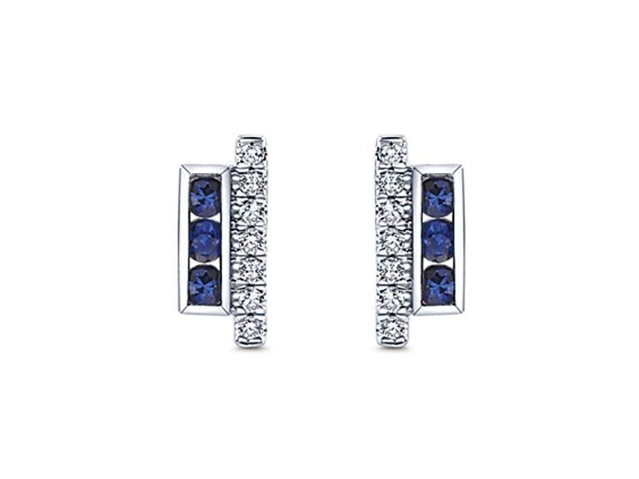 14K White Gold, Sapphire And Diamond Earrings