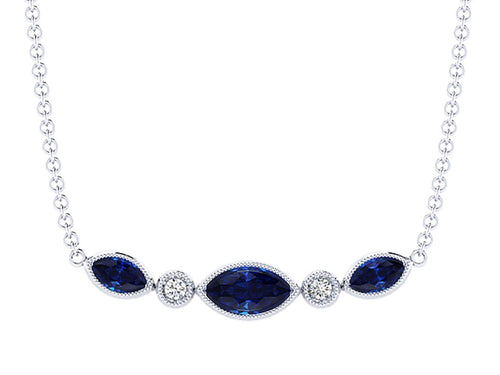 14K White Gold, Sapphire and Diamond Necklace