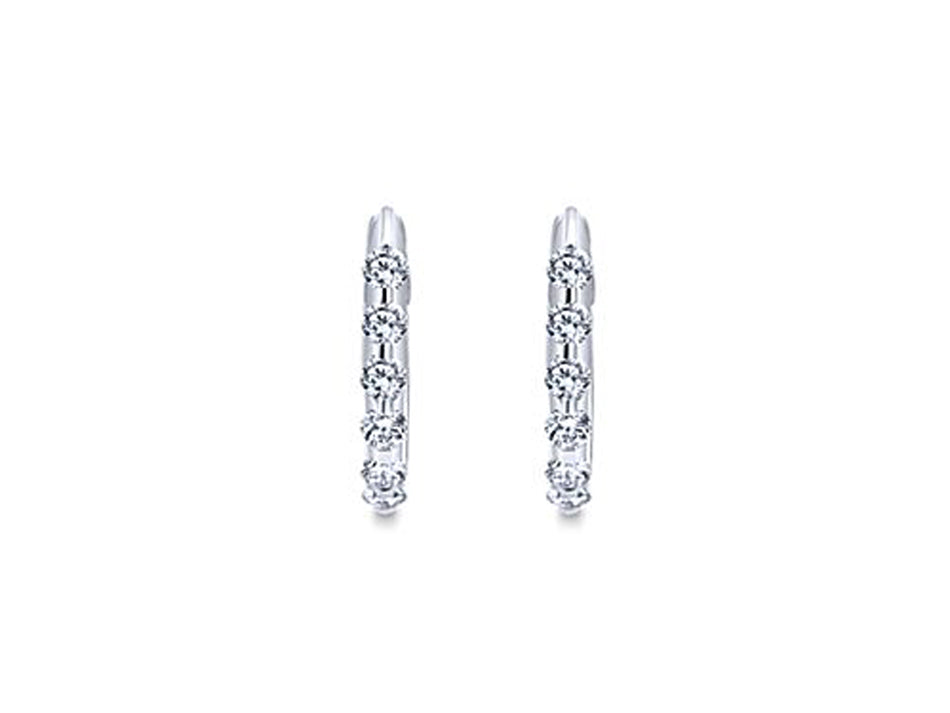 14K White Gold and Diamond Huggie Earrings