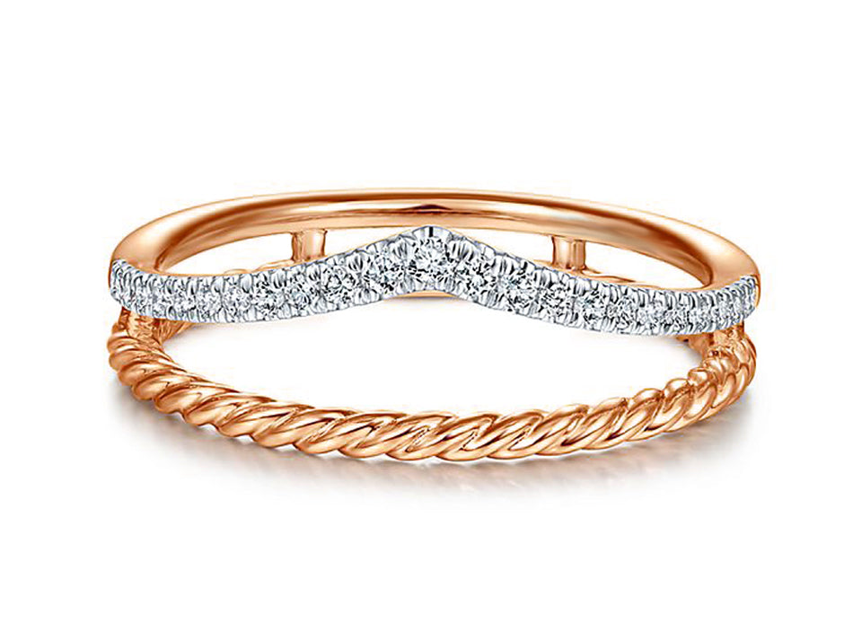 14K Rose Gold and Diamond Ring