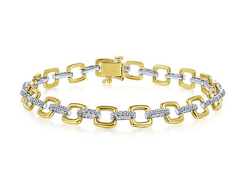 Timeless Diamond Link Bracelet in Yellow and White Gold
