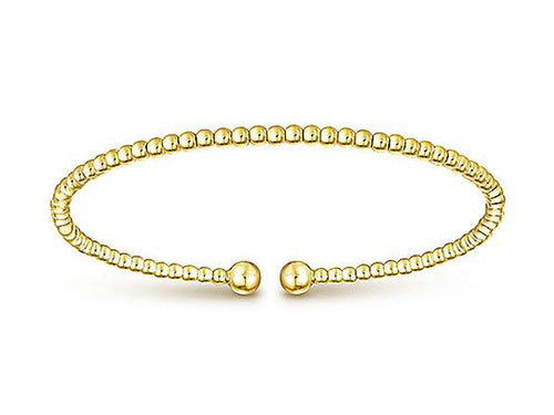 14K Yellow Gold Beaded Bangle Bracelet