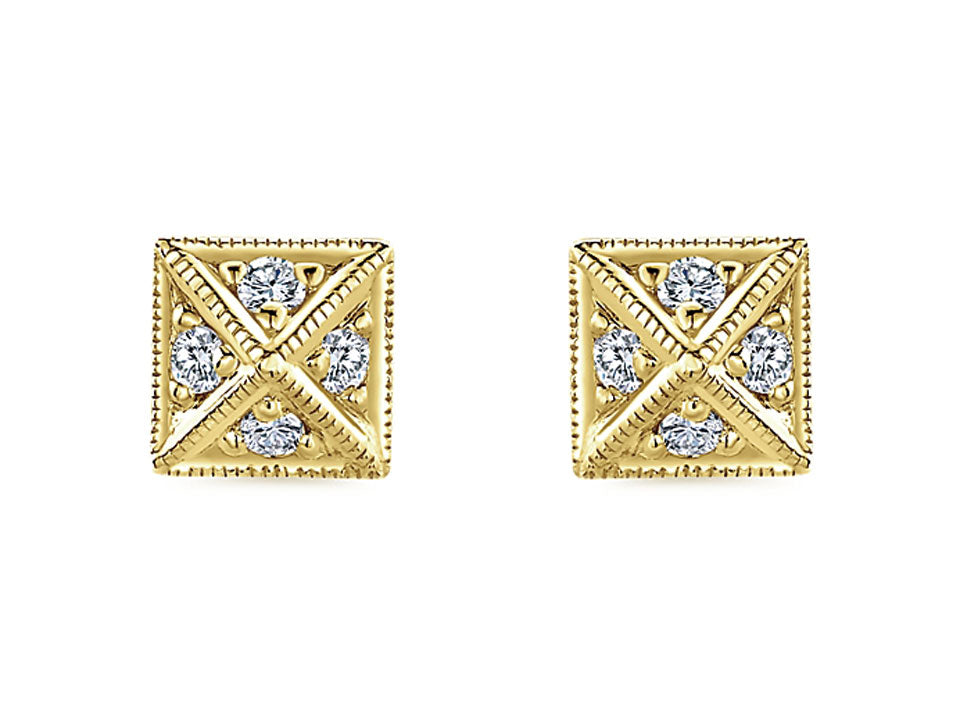14K Yellow Gold and Diamond Stud Earrings