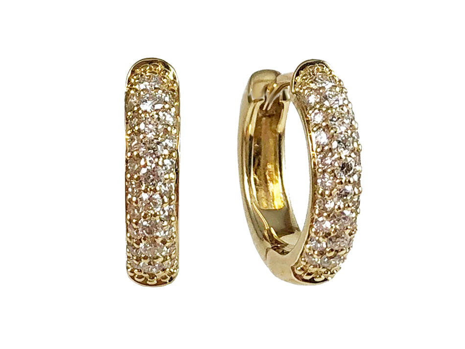 844a68f34ec29 14K Yellow Gold and Pavé Diamond Huggie Earrings