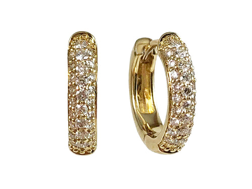 14K Yellow Gold and Pavé Diamond Huggie Earrings