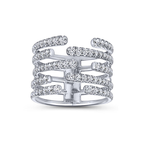 "Pavé Diamond ""Open Wide"" Ring in White Gold"