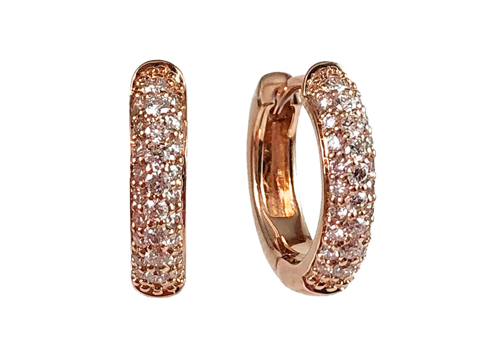 14K Rose Gold and Pavé Diamond Huggie Earrings at the Best Jewelry Store in Washington DC
