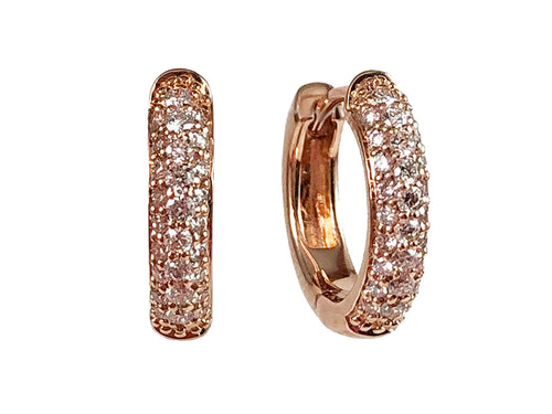 14K Rose Gold and Pavé Diamond Huggie Earrings in Washington DC