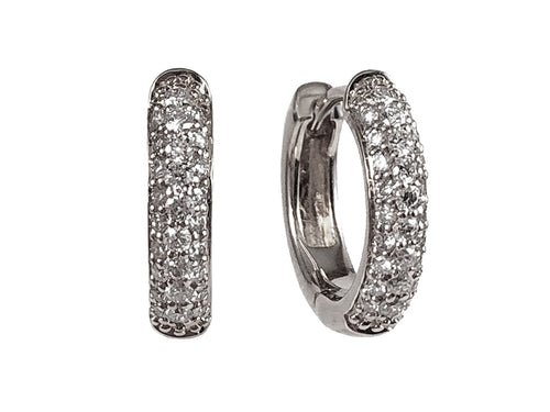 14K White Gold and Pavé Diamond Huggie Earrings