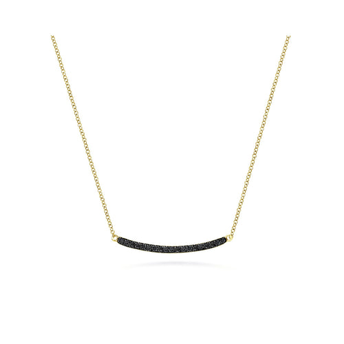 Black Pavé Diamond Curved Bar Necklace