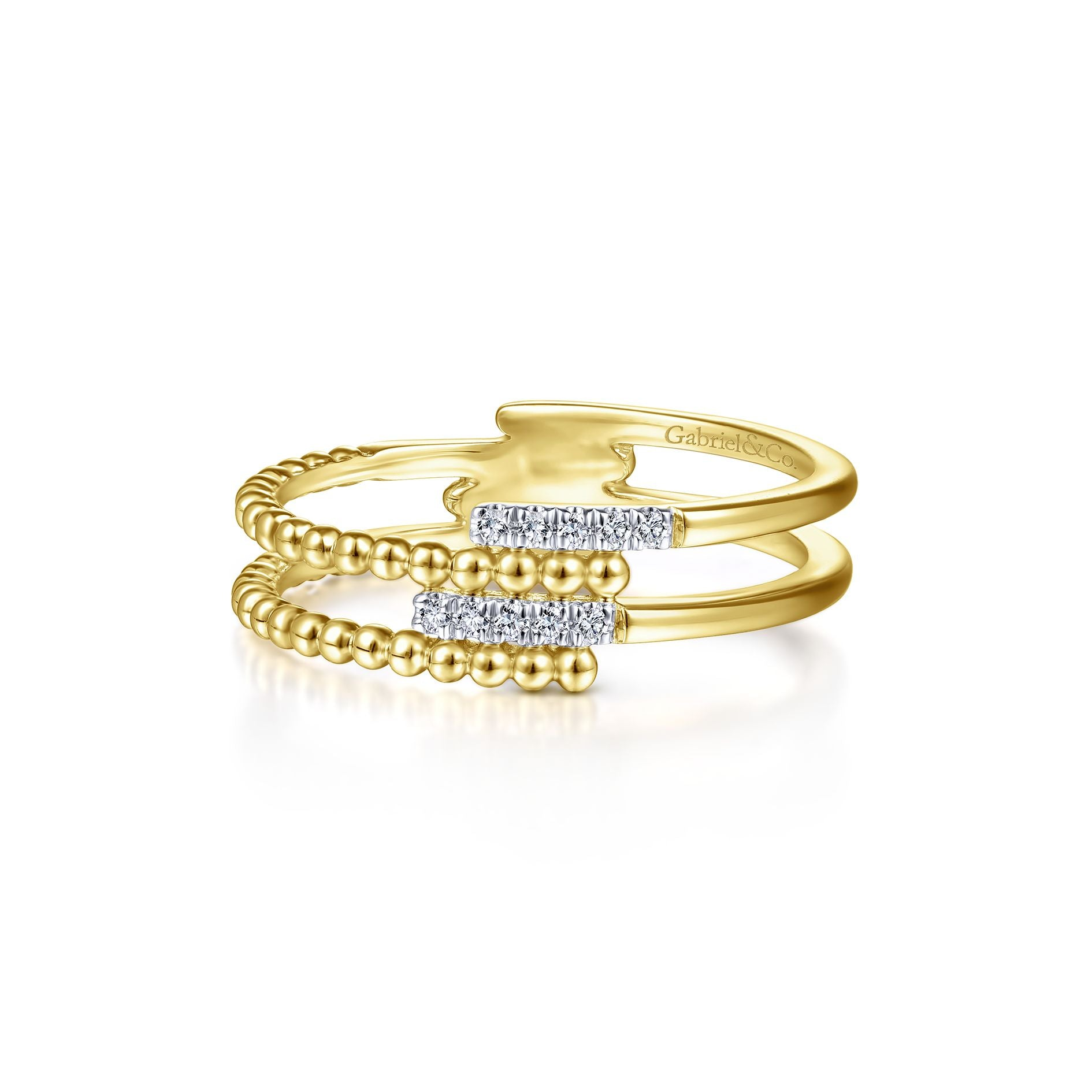 Beaded Interlocking Pavé Diamond Ring in Yellow Gold