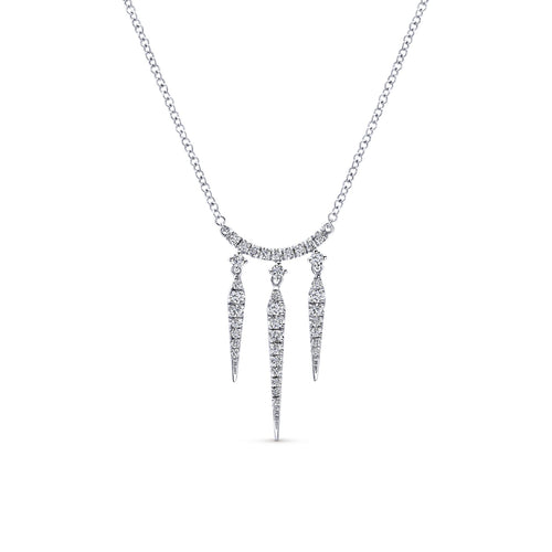 Diamond Icicle Necklace in White Gold