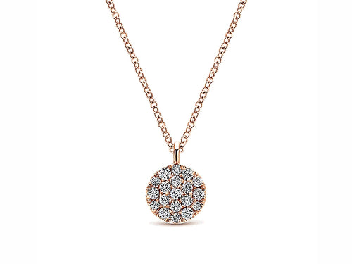 Pavé Diamond Disc Pendant Necklace in Rose Gold