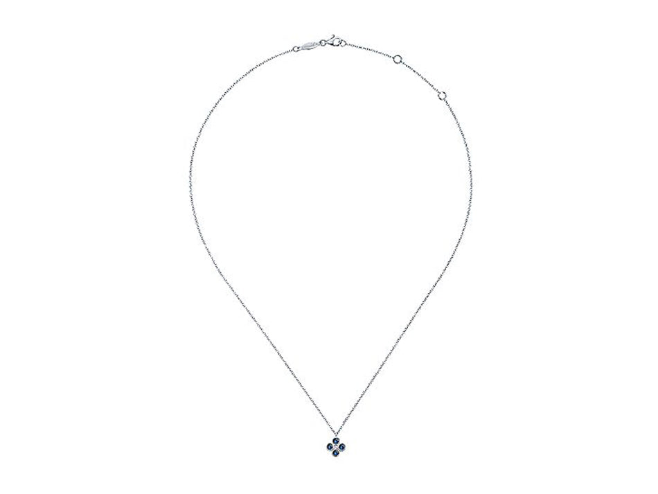 14K White Gold, Sapphire and Diamond Pendant Necklace