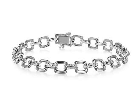 Sleek Diamond Bangle Bracelet in White Gold